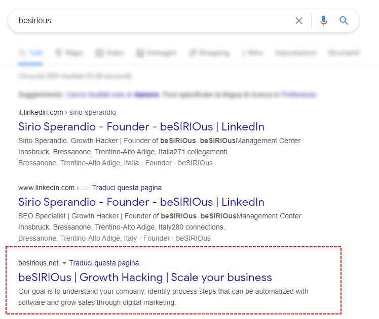 Organi Results of Google beSIRIOus