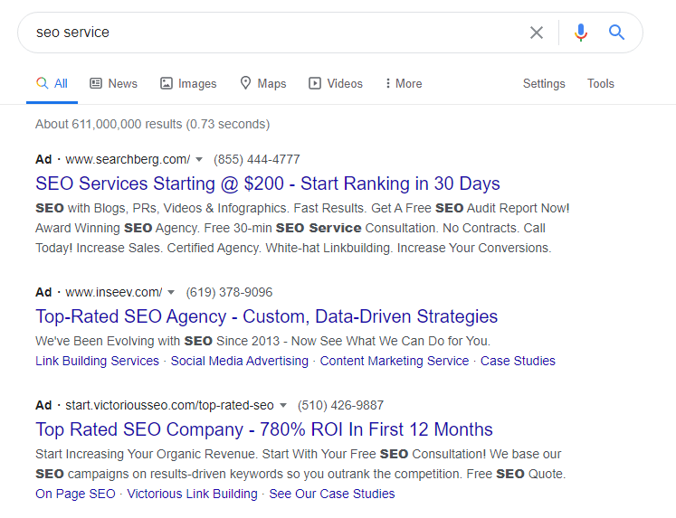 Paid Results for SEO service